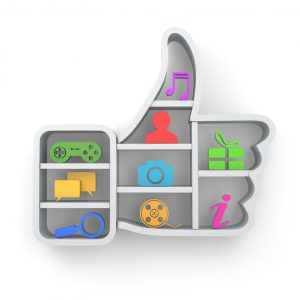 Like. Social media concept. Thumb up and apps icons.