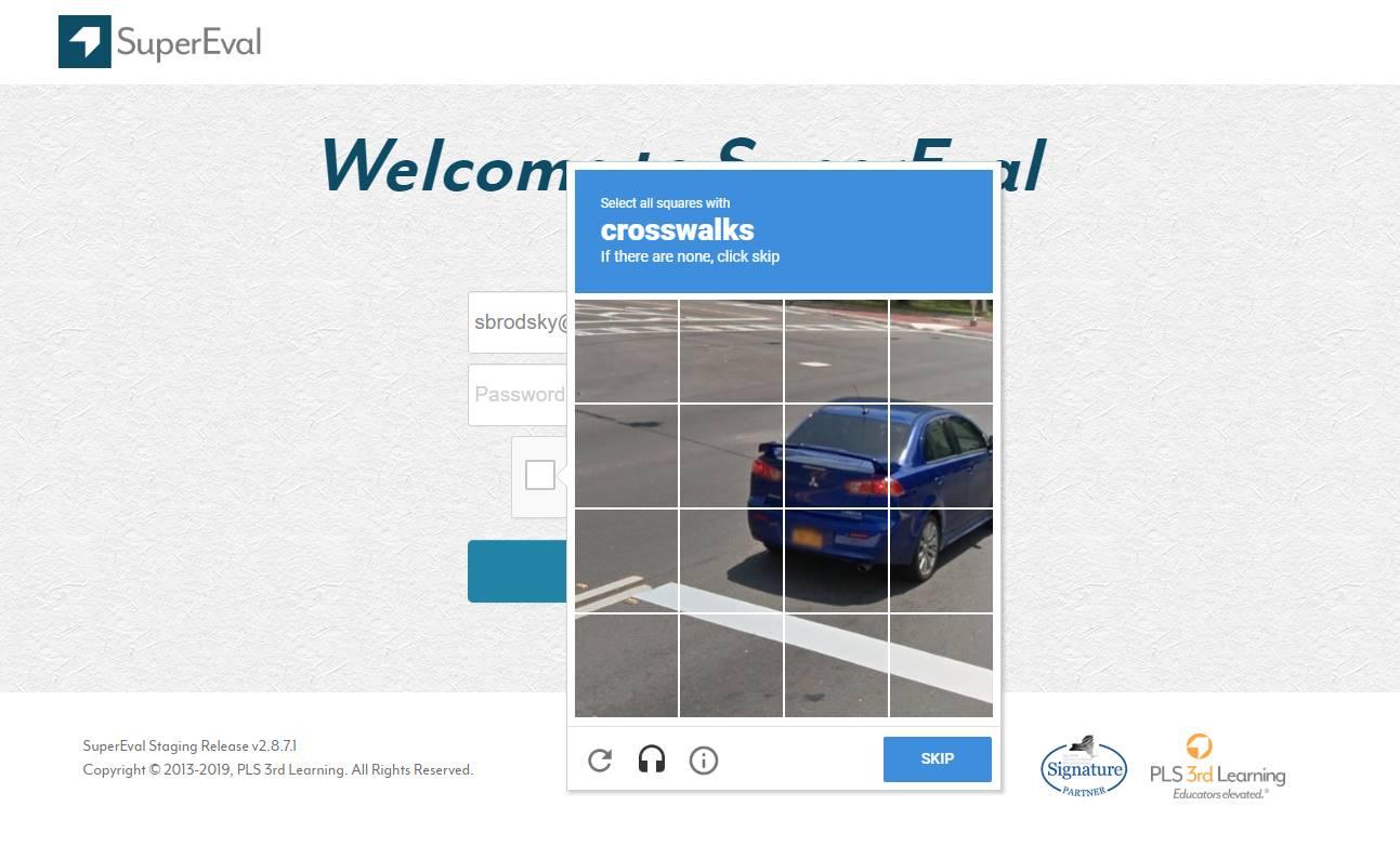 Google reCAPTCHA for SuperEval Login