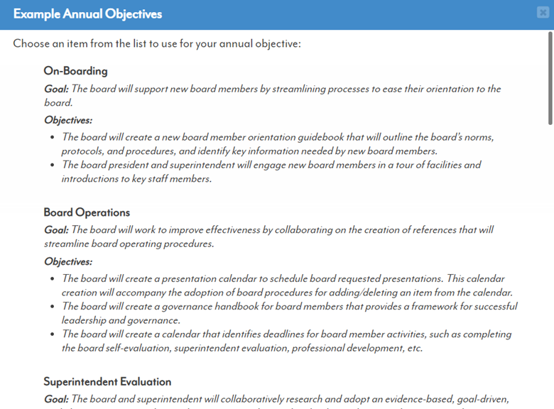 SuperEval Board Self-Evaluation Example Annual Objectives List